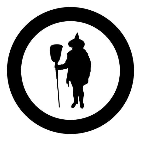 Fairy Wizard Witch holding broom Subject for Halloween concept silhouette in circle round black color vector illustration solid outline style simple image Illustration