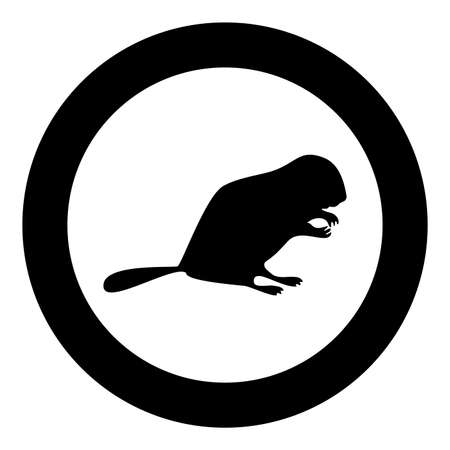 Beaver animal Rodent stand silhouette in circle round black color vector illustration solid outline style simple image