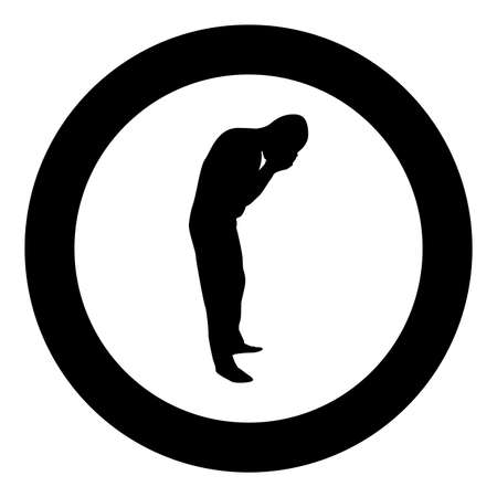 Man wash face water Male cleansing facial Washes his Concept cares about his look Hygiene silhouette in circle round black color vector illustration solid outline style simple image