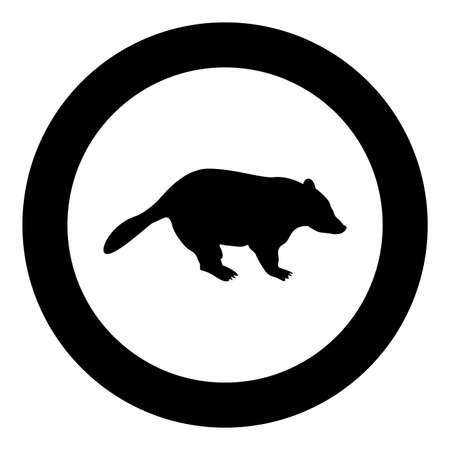 Badger animal wild Meles Taxus predatory mammal family kunihih Carnivore silhouette in circle round black color vector illustration solid outline style simple image