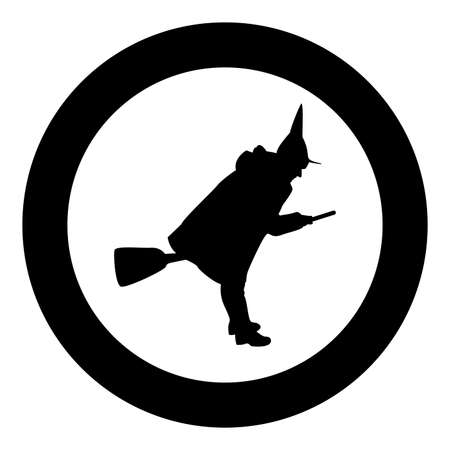 Fairy Wizard Witch flying on broom Subject for Halloween concept silhouette in circle round black color vector illustration solid outline style simple image Illustration