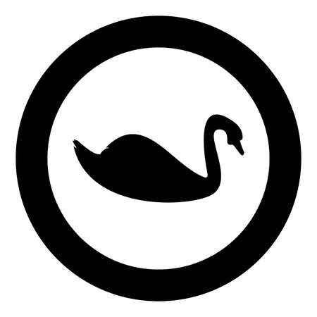 Swan bird Waterbird silhouette in circle round black color vector illustration solid outline style simple image