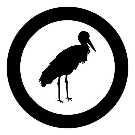 Stork Bird standing Crane Heron silhouette in circle round black color vector illustration solid outline style simple image Illustration