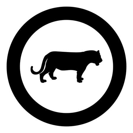 Tiger silhouette in circle round black color vector illustration solid outline style simple image Illustration
