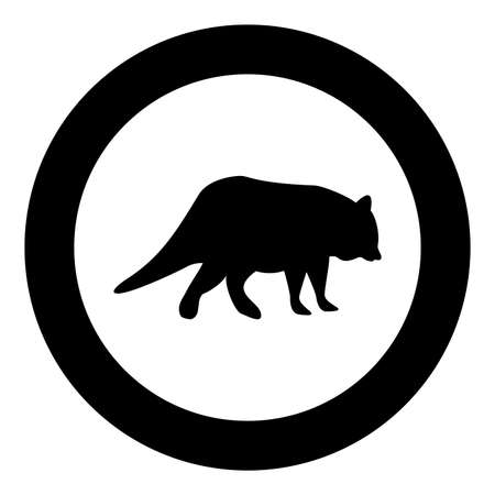 Raccoon Coon silhouette in circle round black color vector illustration solid outline style simple image