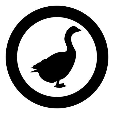 Goose Gosling Geese Anser Gander silhouette in circle round black color vector illustration solid outline style simple image