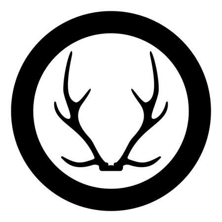 Antler Horn Concept trophy silhouette in circle round black color vector illustration solid outline style simple image