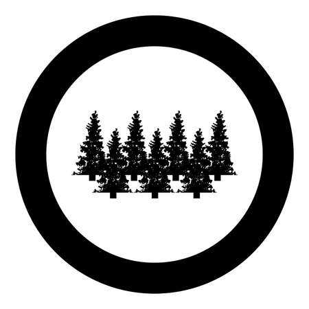 Fir tree Christmas Coniferous Spruce Pine forest Evergreen woods Conifer silhouette in circle round black color vector illustration solid outline style simple image Illustration
