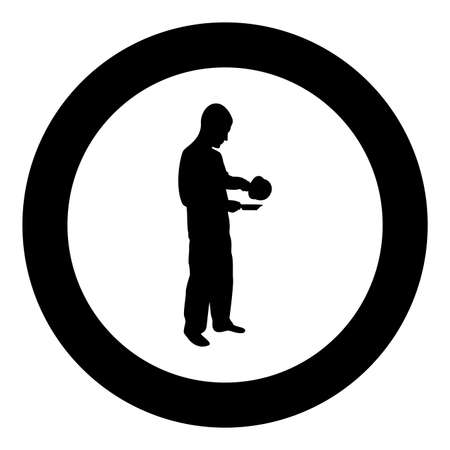 Man with saucepan in his hands preparing food Male cooking use sauciers water poured in plate silhouette in circle round black color vector illustration solid outline style simple image