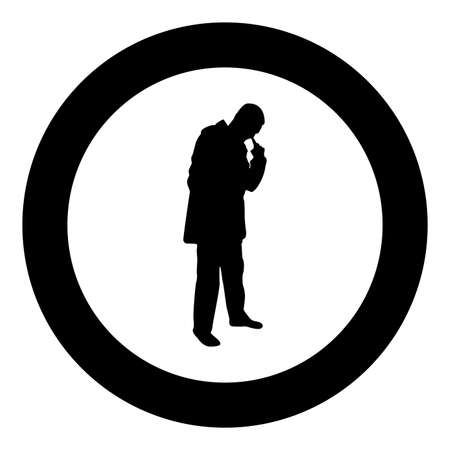 Man poking in nose use finger Male cleans nasal passages silhouette in circle round black color vector illustration solid outline style simple image