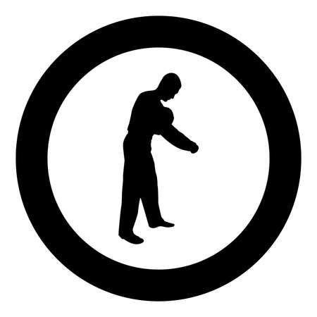 Man dressing sweater Clothes concept Put on his pullover silhouette in circle round black color vector illustration solid outline style simple image