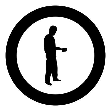 Man with saucepan in his hands preparing food Male cooking use sauciers silhouette in circle round black color vector illustration solid outline style simple image Illustration