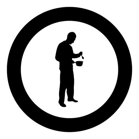Man with saucepan spoon in his hands preparing food Male cooking use sauciers silhouette in circle round black color vector illustration solid outline style simple image Illustration