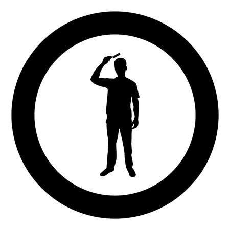 Man is combing hair use hairbrush Front view silhouette in circle round black color vector illustration solid outline style simple image Illustration
