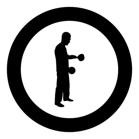 Man with saucepan in his hands preparing food Male cooking use sauciers with open lid silhouette in circle round black color vector illustration solid outline style simple image
