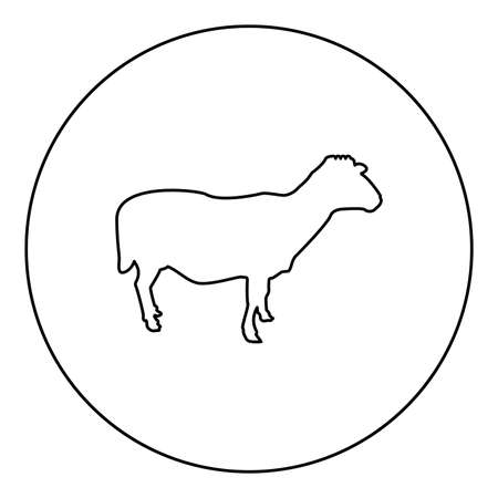 Sheep Ewe Domestic livestock Farm animal cloven hoofed Lamb cattle  silhouette in circle round black color vector illustration contour outline style image simple image