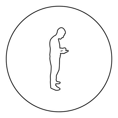 Man holding smartphone phone Playing tablet Male using communication tool Idea looking phone addiction Concept dependency from modern technologies  silhouette in circle round black color vector illustration contour outline style image simple image