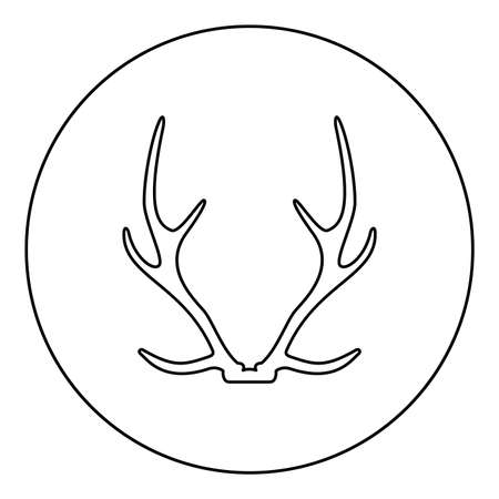 Antler Horn Concept trophy  silhouette in circle round black color vector illustration contour outline style image simple image