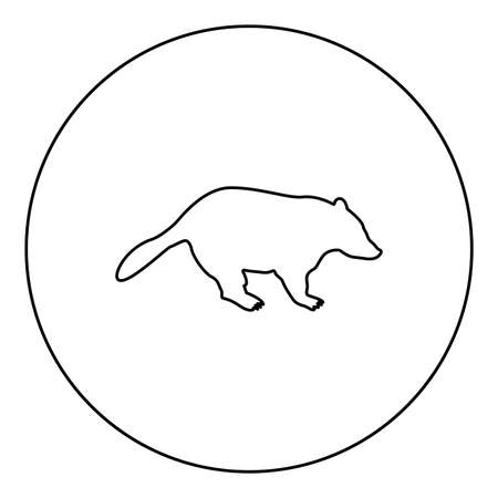 Badger animal wild Meles Taxus predatory mammal family kunihih Carnivore  silhouette in circle round black color vector illustration contour outline style image simple image 矢量图像