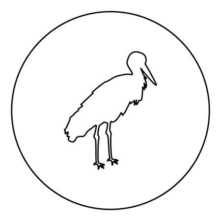 Stork Bird standing Crane Heron  silhouette in circle round black color vector illustration contour outline style image simple image