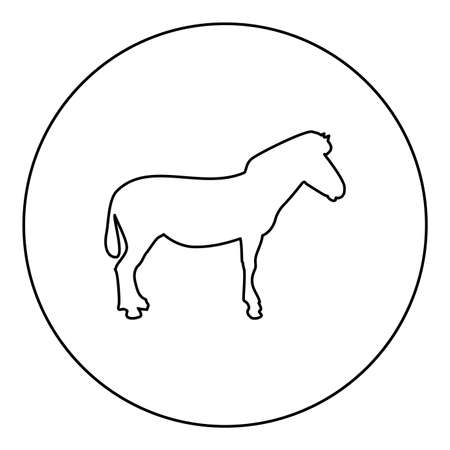 Zebra stand Animal standing  silhouette in circle round black color vector illustration contour outline style image simple image 矢量图像