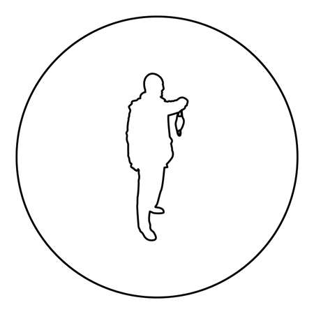 Man hold face medical mask in hand arm wearing Personal dust protective equipment concept Virus Coronavirus influenza flu outbreak prevention quarantine Protect from air pollution  silhouette in circle round black color vector illustration contour outline style image simple image