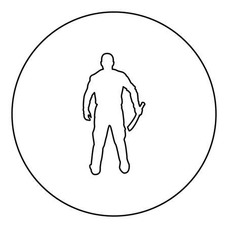 Man with sword machete Cold weapons in hand military man Soldier Serviceman in various positions Hunter with knife Fight poses Strong defender Warrior concept Weaponry Standing View from rear Terrible and scary  silhouette in circle round black color vector illustration contour outline style image simple image