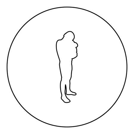Boy hugs pillow arm Child holds cushion hugging hands Preschool hug Cute brother standing Son stand Children happy Kid going to bed Person bedtime concept Sleep snuggle idea View side  silhouette in circle round black color vector illustration contour outline style image simple image