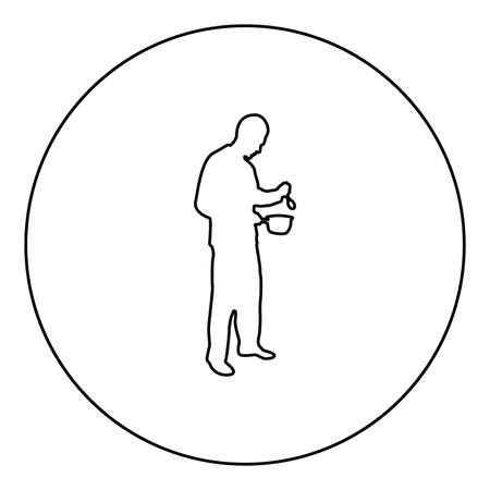 Man with saucepan spoon in his hands preparing food Male cooking use sauciers  silhouette in circle round black color vector illustration contour outline style image simple image