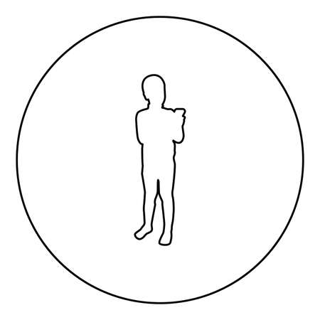 Boy holding smartphone phone Playing tablet Male using communication tool Adolescent looking phone addiction Concept dependency from modern technologies  silhouette in circle round black color vector illustration contour outline style image simple image 矢量图像