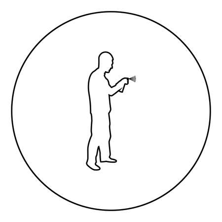 Man using water sprayed in up Male watering garden using hand sprinkler Holding arm special comb  silhouette in circle round black color vector illustration contour outline style image simple image