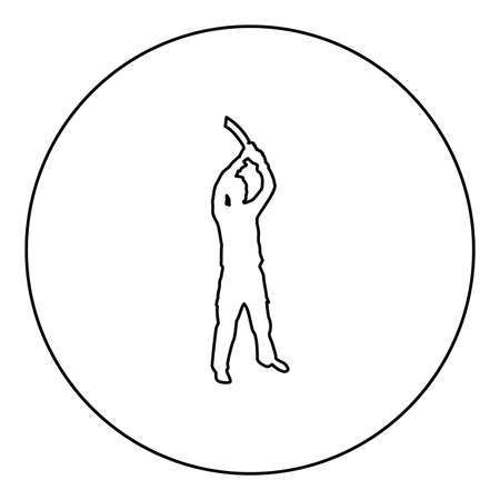 Man with sword machete from above Cold weapons in hand military man Soldier Serviceman in various positions Hunter with knife Fight poses Strong defender Warrior concept Weaponry Standing  silhouette in circle round black color vector illustration contour outline style image simple image
