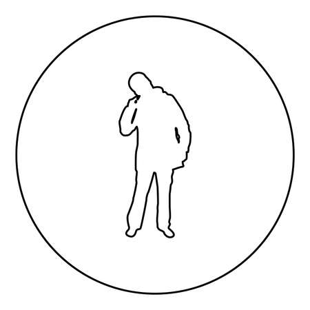 Male picking in ear using finger Male clearing earwax Clean body concept Caring for cleanliness idea Hygiene Cleanup hygienic  silhouette in circle round black color vector illustration contour outline style image simple image