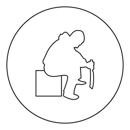Man with sword machete Cold weapons in hand military man Soldier Serviceman in various positions Hunter with knife Fight poses Strong defender Warrior concept Weaponry Sitting on box  silhouette in circle round black color vector illustration contour outline style image simple image