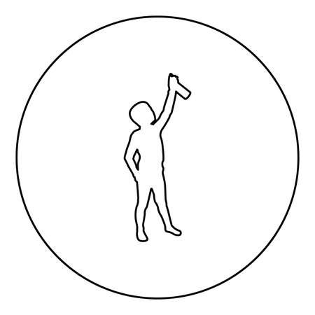 Boy using water sprayed in up Small kid watering garden using hand sprinkler Holding arm special comb  silhouette in circle round black color vector illustration contour outline style image simple image