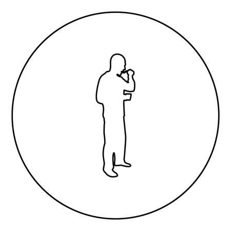Man trying food from spoon standing Tasting concept Gourmet tries dish Chef trying  silhouette in circle round black color vector illustration contour outline style image simple image