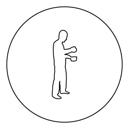 Man with saucepan in his hands preparing food Male cooking use sauciers with open lid  silhouette in circle round black color vector illustration contour outline style image simple image