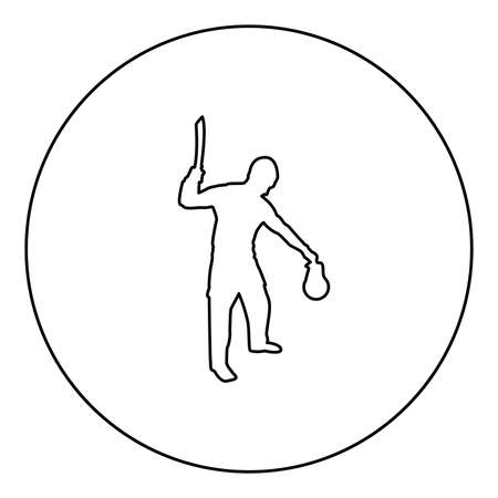 Man with sword machete Cold weapons in hand military man Soldier Serviceman in various positions Hunter with knife Fight poses Strong defender Warrior concept Weaponry Standing holding thing  silhouette in circle round black color vector illustration contour outline style image simple image 矢量图像