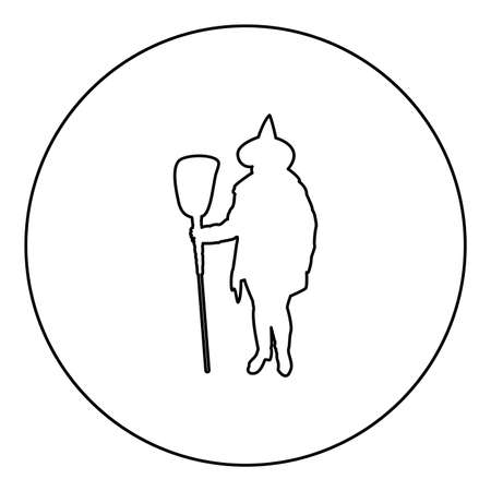 Fairy Wizard Witch holding broom Subject for Halloween concept  silhouette in circle round black color vector illustration contour outline style image simple image 矢量图像