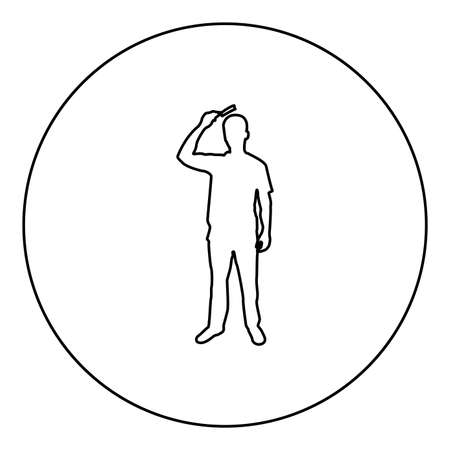 Man is combing hair use hairbrush Front view  silhouette in circle round black color vector illustration contour outline style image simple image 矢量图像