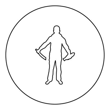 Man with sword machete remove sheath scabbard Cold weapons in hand military man Soldier Serviceman in various positions Hunter with knife Fight poses Strong defender Warrior concept Weaponry Standing silhouette in circle round black color vector illustration contour outline style image simple image
