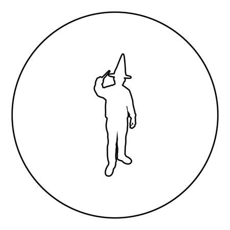 Wizard holds magic wand trick Waving Sorcery concept Magician Sorcerer Fantasy person Warlock man in robe with magical stick Witchcraft in hat mantle Mage conjure Mystery idea Enchantment  silhouette in circle round black color vector illustration contour outline style image simple image