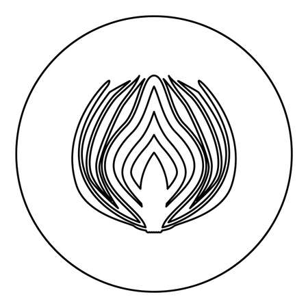 Onion cut in half part Bulbs chopped sliced vegetable  silhouette in circle round black color vector illustration contour outline style image simple image 矢量图像