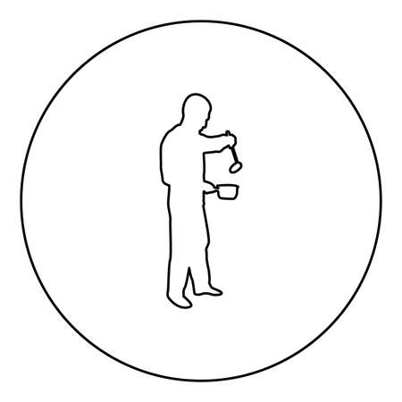 Man with saucepan scoop ladle Kitchen utensil Crack for soup in his hands preparing food Male cooking use sauciers  silhouette in circle round black color vector illustration contour outline style image simple image