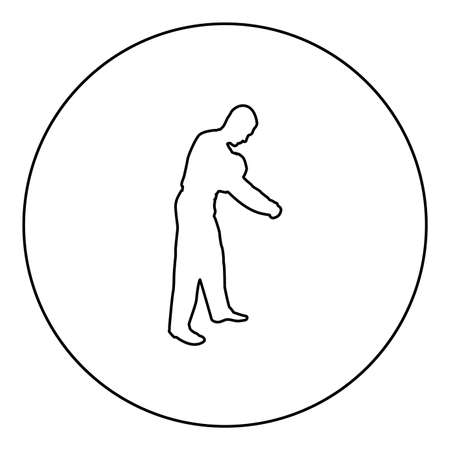 Man dressing sweater Clothes concept Put on his pullover  silhouette in circle round black color vector illustration contour outline style image simple image 矢量图像