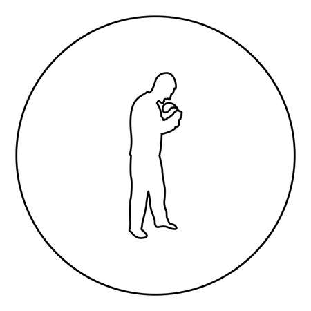 Angry man with belt in hand for punishment warns Violence in family concept Abuse idea Domestic trouble Fury male threatening victim Social problem Husband father emotionally aggression against human Bullying  silhouette in circle round black color vector illustration contour outline style image simple image