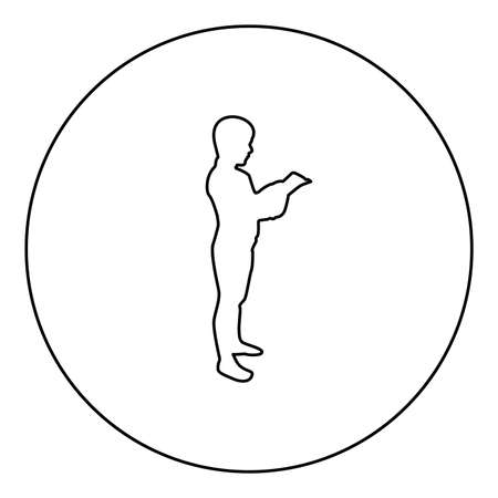 Boy reading book standing Teen male with open book in his hands Cute schoolboy read Ready to back to school concept Education online learning  silhouette in circle round black color vector illustration contour outline style image simple image