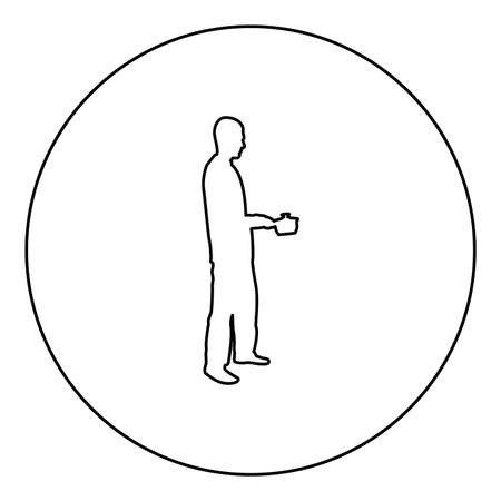 Man with saucepan in his hands preparing food Male cooking use sauciers  silhouette in circle round black color vector illustration contour outline style image simple image