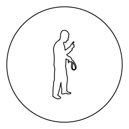 Angry man with belt in hand for punishment warns showing index finger Violence in family concept Abuse idea Domestic trouble Fury male threatening victim Social problem Husband father emotionally aggression against human Bullying silhouette in circle round black color vector illustration contour outline style image simple image
