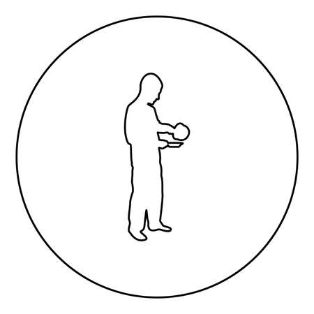 Man with saucepan in his hands preparing food Male cooking use sauciers water poured in plate  silhouette in circle round black color vector illustration contour outline style image simple image